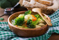 Chicken Soup With Broccoli, Green Peas, Carrots And Celery Royalty Free Stock Image - 63667476
