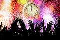Crowd People With Clock And Fireworks Stock Photos - 63675213