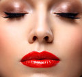 Red Sexy Lips And Nails Closeup. Open Mouth Royalty Free Stock Images - 63678389