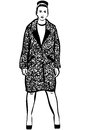 Vector Sketch Of A Beautiful Woman In A Coat And Shoes Stock Photo - 63695790