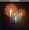 Set Realistic Fireworks Different Shapes. Colorful Festive, Bright Firework Stock Photo - 63696040
