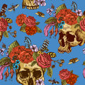 Skull And Flowers Day Of The Dead Seamless Pattern Stock Image - 63703931