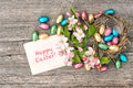 Chocolate Easter Eggs And Apple Tree Blossoms. Spring Flowers Royalty Free Stock Photography - 63704877