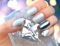 Christmas Nail Art Manicure. Winter Holiday Manicure Design Stock Images - 63705344