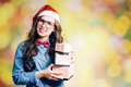 Funny Hipster Girl In Xmas Santa Hat Stock Images - 63737814