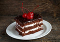 Delicious Chocolate Cakes With Cherry Close-up Stock Image - 63739031