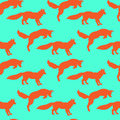 Illustration Of Foxes. Playing Animals. Wild Nature. Seamless Pattern. Royalty Free Stock Image - 63744406