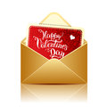 Card With Original Hand Lettering Happy Valentines Day And Gold Royalty Free Stock Photography - 63746857