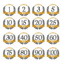 Anniversary Badges Gold And Black Color Stock Photo - 63751420