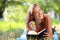 Woman Reading Book At Park Royalty Free Stock Photography - 63754797