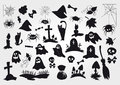 Big Vector Set Of Halloween Silhouettes Objects And Creatures. Stock Image - 63756061