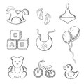 Baby And Toys Sketched Icons Set Stock Photography - 63760292