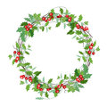 Round Christmas Wreath With Holly Branches  On White. Royalty Free Stock Photo - 63771875