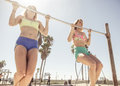 Twin Sisters Training In Venice Beach Royalty Free Stock Photos - 63781518