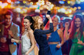 Happy Young Women Dancing At Night Club Disco Royalty Free Stock Images - 63787219