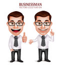 Professional Business Man Character With Pointing And OK Hand Gesture Royalty Free Stock Image - 63794346