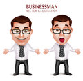 Professional Business Man Character Shocked And Surprised Posture Stock Images - 63794354