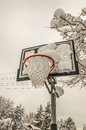 Snow-filled Basketball Net Royalty Free Stock Photos - 63809548
