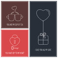 Valentine Cards Set Royalty Free Stock Photo - 63821435
