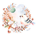 Pre-made Christmas Card.Winter Wreath Royalty Free Stock Photo - 63826615