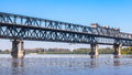 Steel Truss Bridge Over The Danube River Royalty Free Stock Photography - 63829047