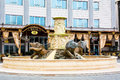 Lion Statues Fountain Near The Hotel In Downtown Stock Images - 63830974