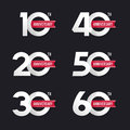 The Set Of Anniversary Signs From 10th To 60th. Royalty Free Stock Image - 63831656