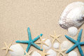 Sea Shells On Sand. Summer Beach Background. Top View Stock Image - 63845531