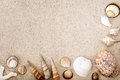 Sea Shells On Sand. Summer Beach Background. Top View Stock Photo - 63846230