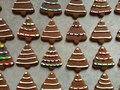 Tree-shaped Gingerbread Cookies Iced, Decorated With Candies For Christmas Royalty Free Stock Photos - 63857668