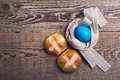 Homemade Easter Hot Cross Buns And Egg, Top View Stock Photos - 63859913