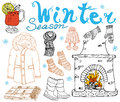 Winter Season Set Doodles Elements. Hand Drawn Set With Glass Of Hot Wine, Boots, Clothes, Fireplace, Warm Blanket, Socks And Hat, Stock Photos - 63870333