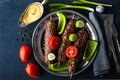 Kebabs With Vegetables On The Vintage Metal Plate Top View Stock Image - 63875081