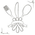 Vector Hand Drawn Illustration With Cutlery Set. Sketch. Vintage Stock Photo - 63881450