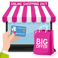 Laptop Online Shopping With Pink Bag Stock Photography - 63881682