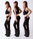 Triptych Of Woman In Sexy Black Outfit Royalty Free Stock Images - 63887689