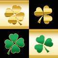 Shamrocks Gold Green Black Pattern Stock Photo - 63887890