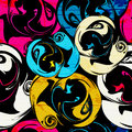 Graffiti Bright Psychedelic Seamless Pattern On A Black Background Vector Illustration Stock Images - 63898394