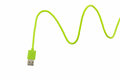 Green USB Cable For Smartphone Stock Image - 63903341