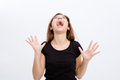 Crazy Hysterical Young Woman Screaming And  Looking Up Stock Image - 63911431