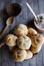 Kaiser Rolls In A Basket Stock Photography - 63962272