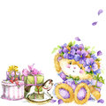 Cute Teddy Bear And Flower Violet Background. Watercolor Teddy Bear. Stock Image - 63969181