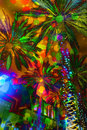 Festive Lights Abstract Palm Trees Royalty Free Stock Photo - 63971255