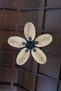 Tropical Wooden Ceiling Fan Stock Images - 63977574