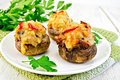 Champignons Stuffed Meat In White Plate On Board Royalty Free Stock Photography - 63984237