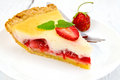 Pie Strawberry With Sour Cream On Light  Board Stock Images - 63984364