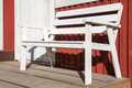 White Wooden Bench On Terrace Of Red Wooden House Royalty Free Stock Photos - 64001838