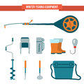 Set Equipment Flat Style For Winter Fishing On Ice Royalty Free Stock Photography - 64003927