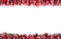 Seamless Christmas Red Silver Tinsel Frame. Isolated On A White Background Stock Photo - 64006760