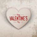 Happy Valentines Day Realistic Paper Heart Label Stock Photography - 64021122